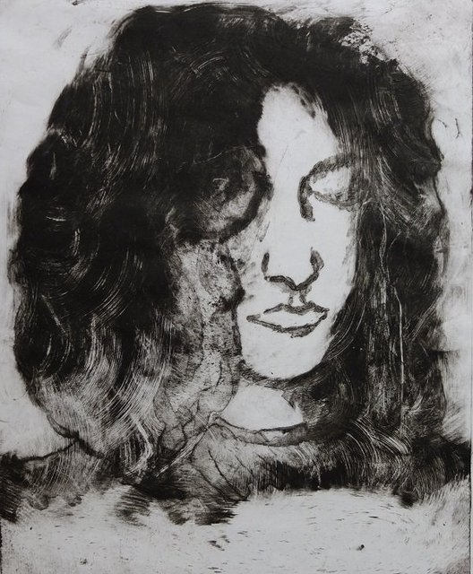 Girl - monoprint on paper by Alison Gracie
