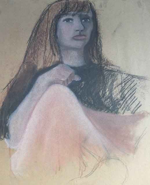 Woman in pale pastel by Alison Gracie