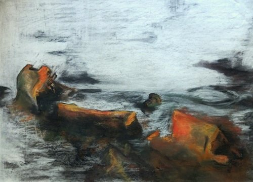 Charcoal and Pastel Shipwreck Maenporth by Alison Gracie