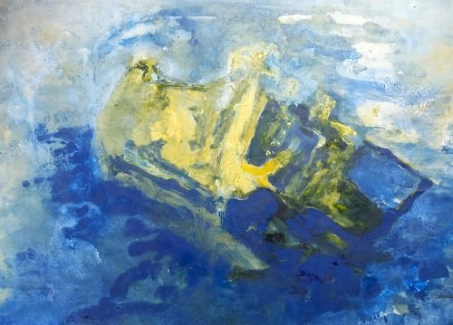 Monoprint Shipwreck Maenporth 1 by Alison Gracie