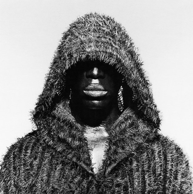 Black male portrait wearing hood