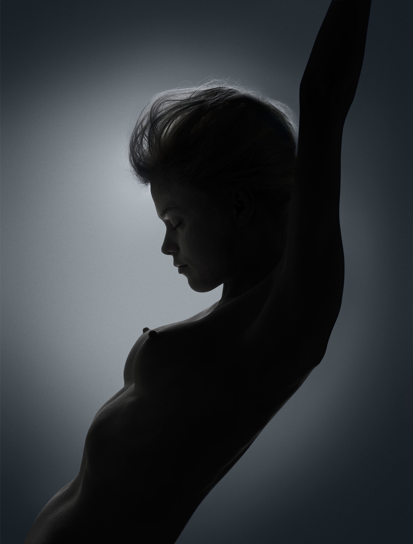 Dark nude female silhouette