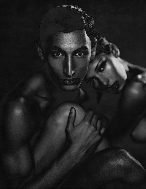 Dark male & female solarized nude 02