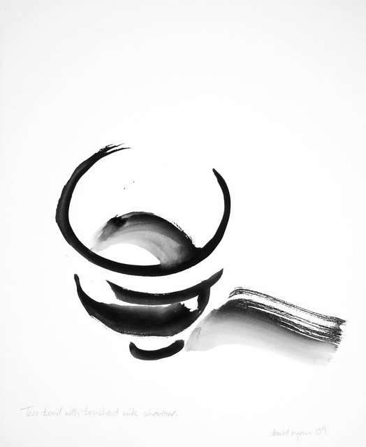 Tea Bowl with Brushed Ink Shadow.