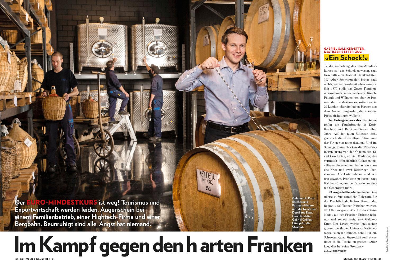 Gabriel Galliker-Etter, Destillerie Etter, Zug, Schweizer Illustrierte Januar 2015