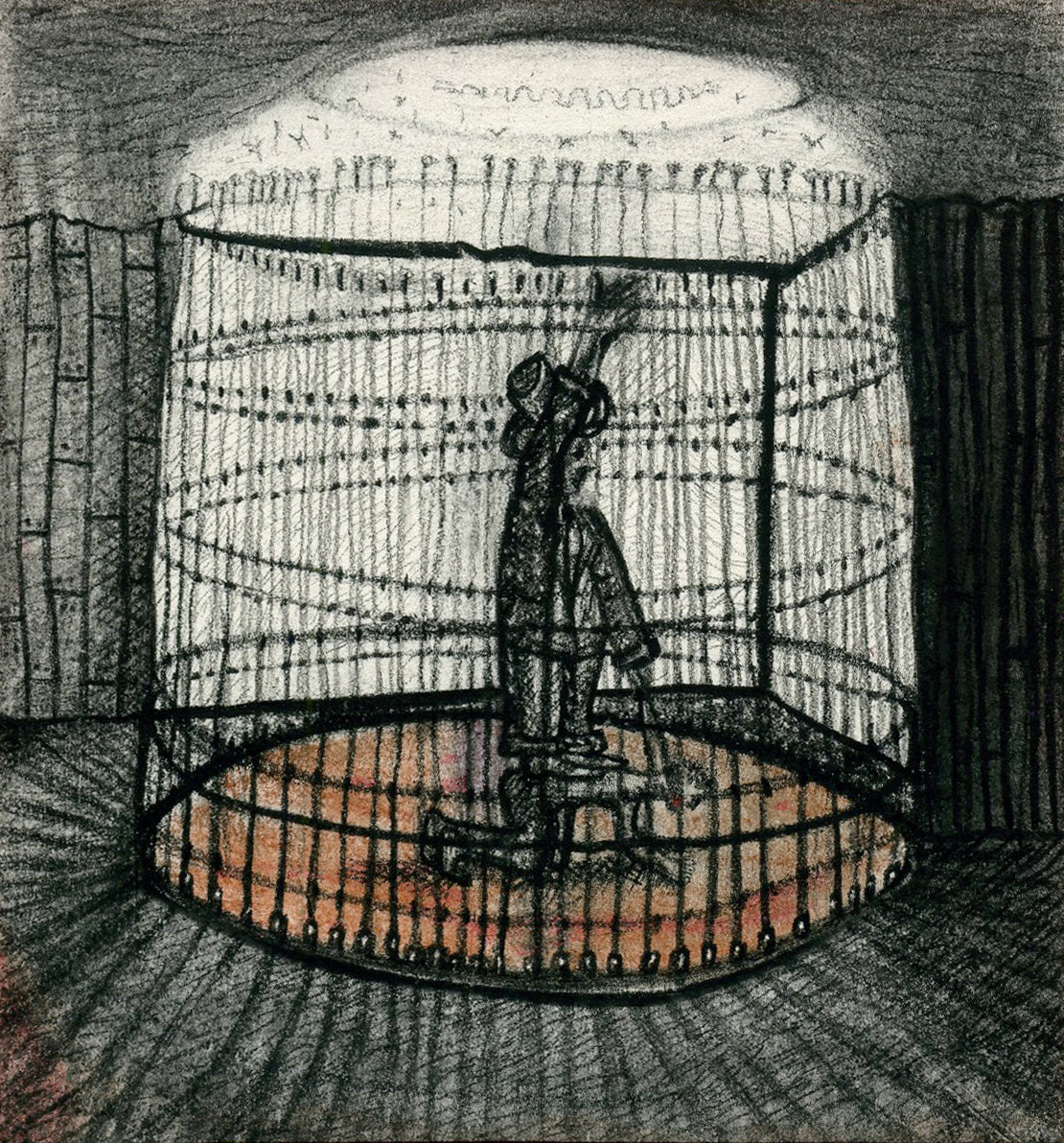 """3. """"Albert decided the best way to control & train his ego was to every night before sleeping, ride it like a circus animal. For this purpose he constructed a circular cage."""" Pastel, 10x10cm, 2010"""