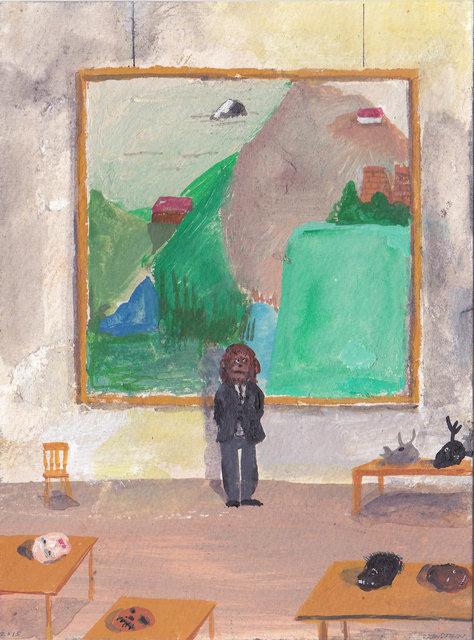 Paul Nassenstein . Artist in his studio,  2015, gouache op papier, 15 x 10 cm.jpg