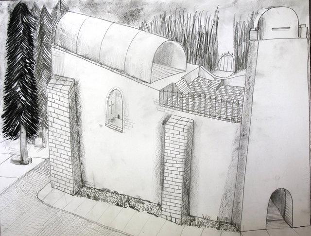 Nassenstein Church  2016  50 x 65 cm  drawing.JPG
