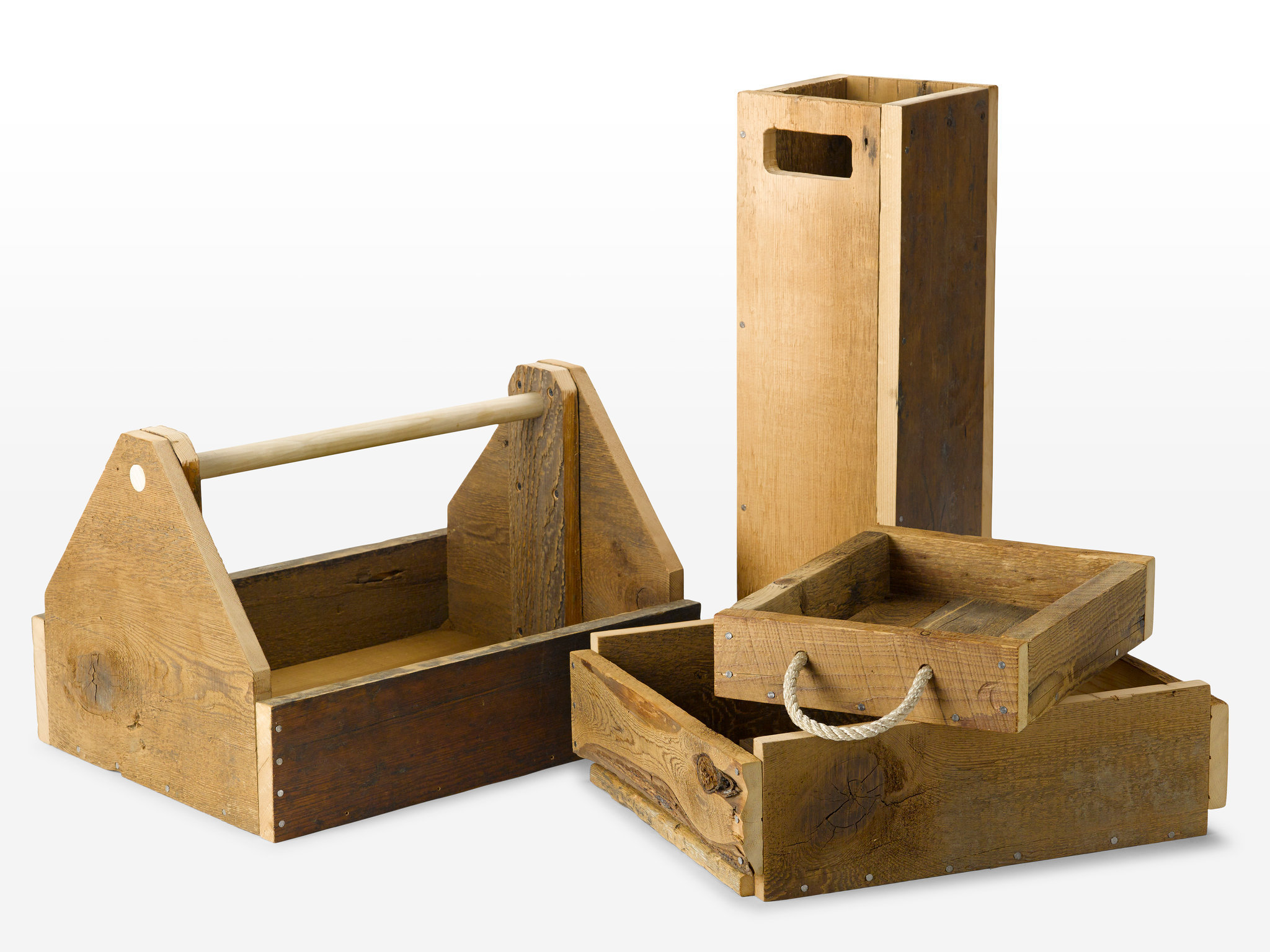 Reclaimed wooden boxes  for everyday objects