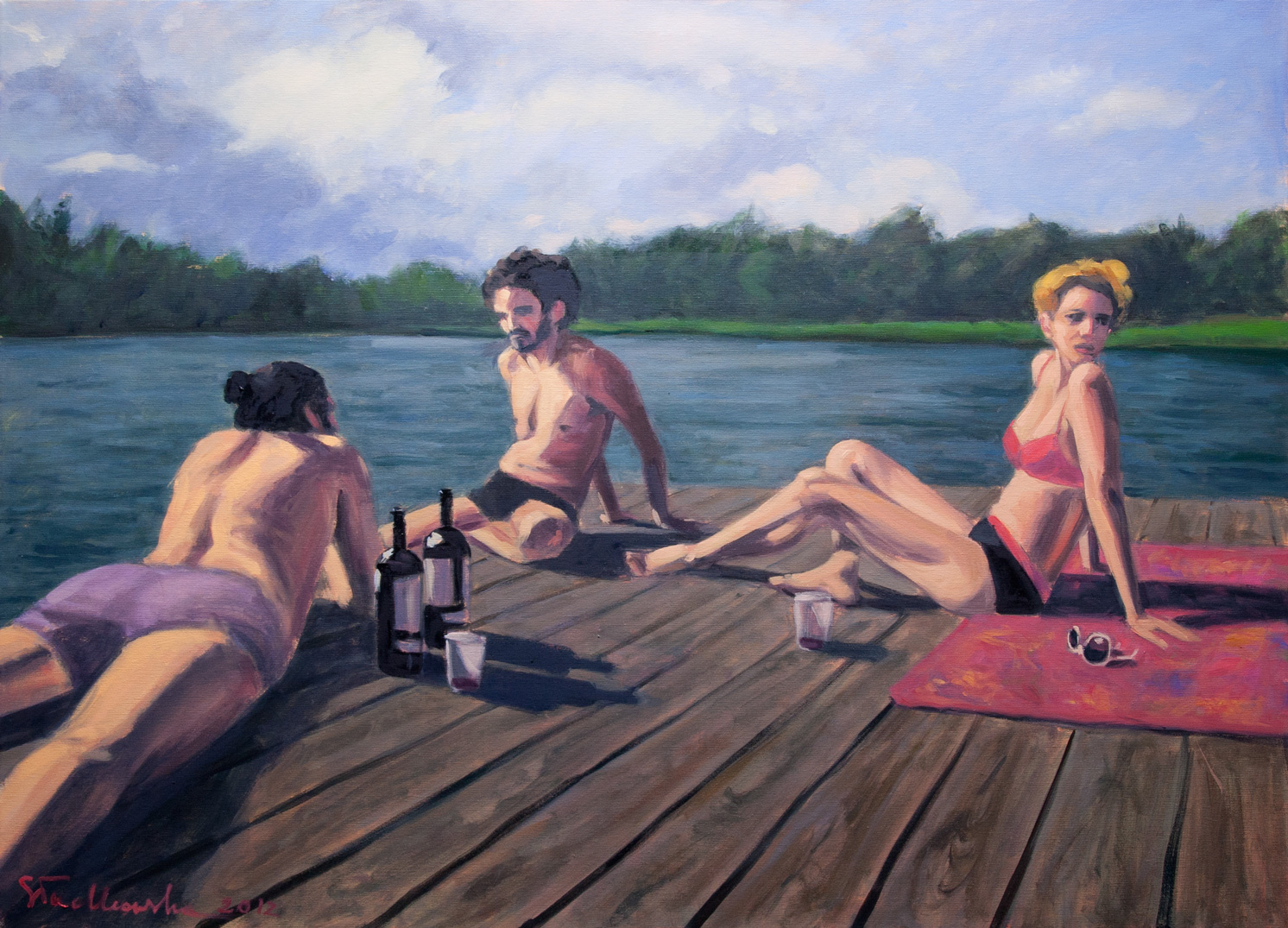 Breakfast on a raft 100x73 olej płotno 2012