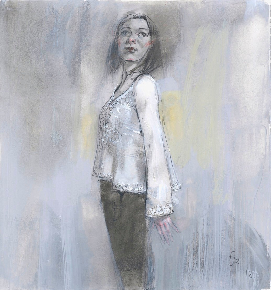 """White Blouse (or, A Revelation) watercolor, gouache, graphite, charcoal on paper 2016 10 1:4 x 11 1:4"""" $1600.jpg"""