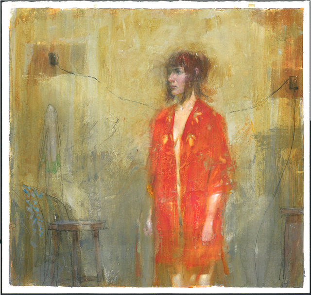 "Orange Robe watercolor, gouache, graphite on paper 2016 14 1:4 x 13 3:8"" $1900.jpg"