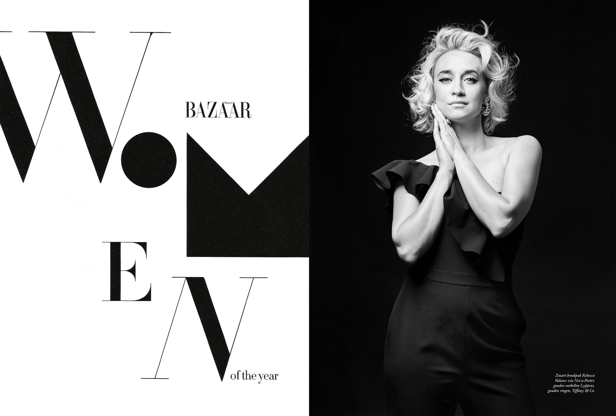 talkshow host Eva Jinek for Harpers Bazaar NL
