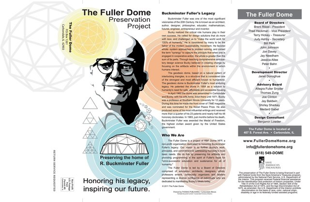 Brochure cover for The Fuller Dome Home Preservation Project.