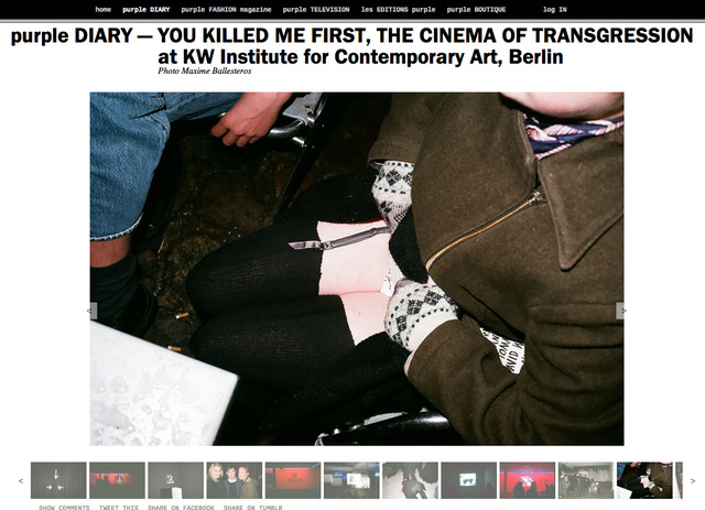 purple DIARY   YOU KILLED ME FIRST  THE CINEMA OF TRANSGRESSION at KW Institute for Contemporary Art