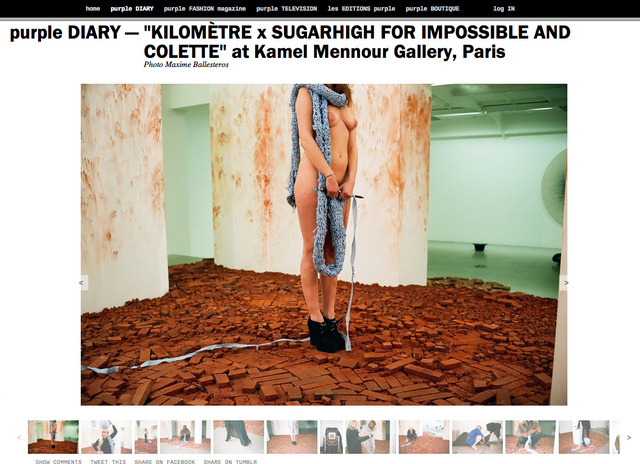 purple DIARY    KILOMÈTRE x SUGARHIGH FOR IMPOSSIBLE AND COLETTE  at Kamel Mennour Gallery  Paris.pn