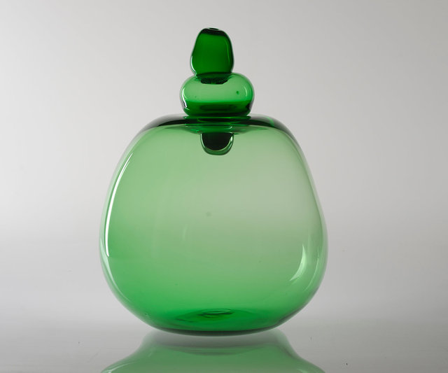 Big Green Shiny Sculpture Vase