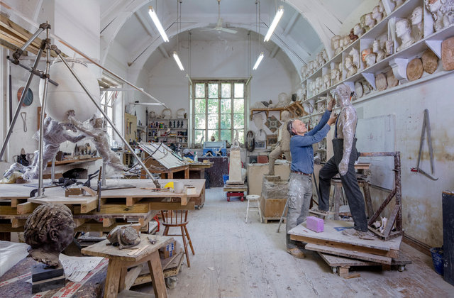 Mark Richards at work, Stanton Studio, Ludlow