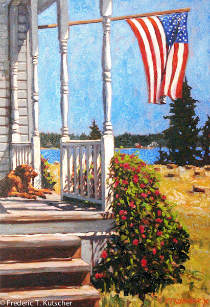 2005-7 Lucy on the Front Porch on Haying Day (oil on canvas 26W 38H) 2 copy.jpg