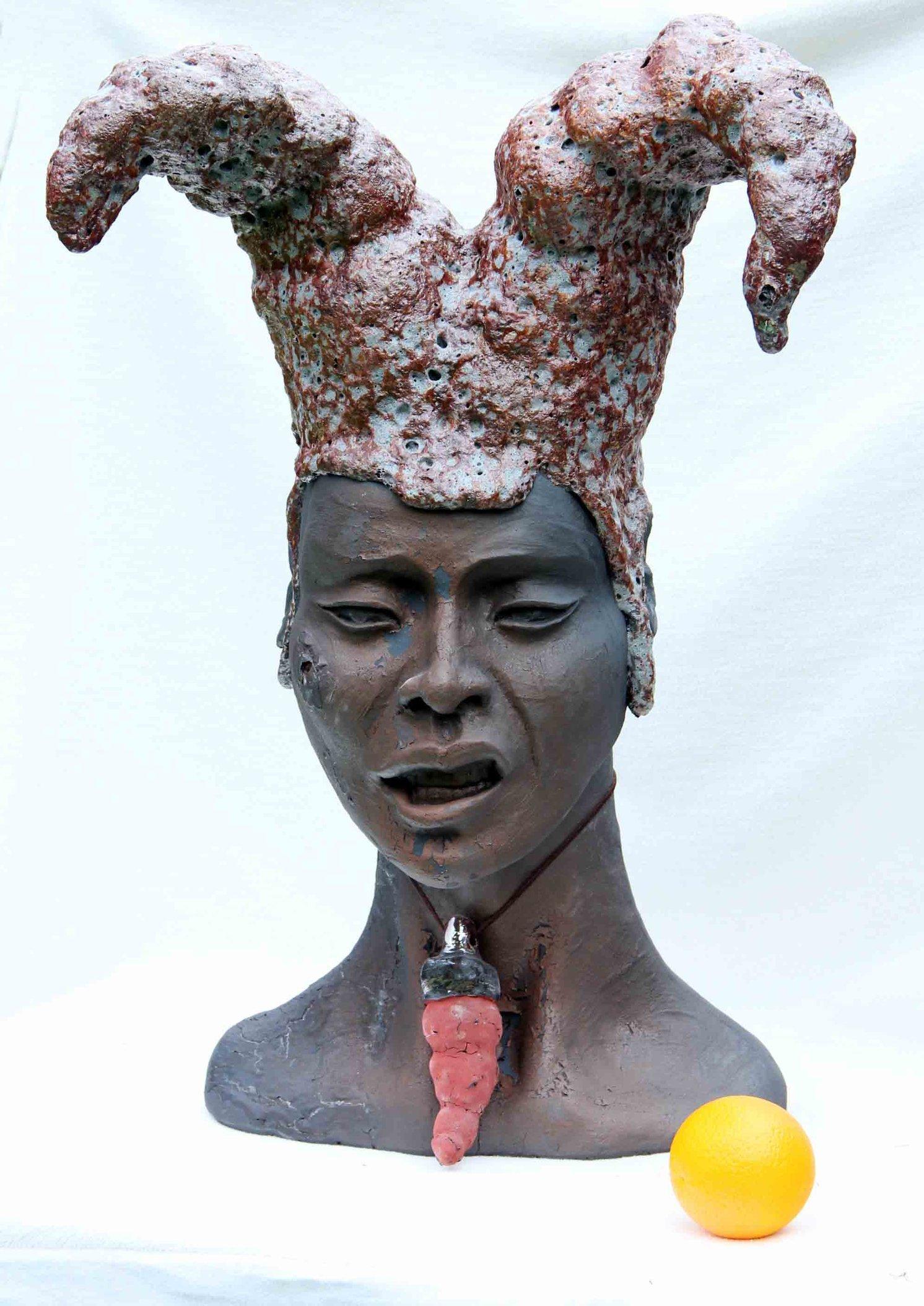Piękność Stańczyka 70cm 15kg ceramika szamotowa szkliwo