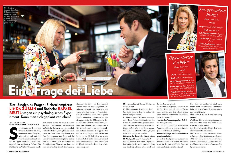Linda Züblin und Rafael Beutl. Ein Experiment zum Valentinstag. Schweizer Illustrierte, Februar 2015