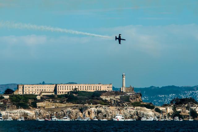 Patriots  L-39 Albatros over Alcatraz Is.