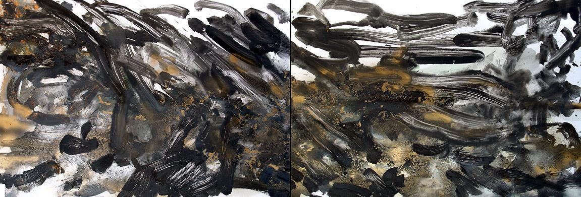 Nocny deszcz, 70x200, olej/papier