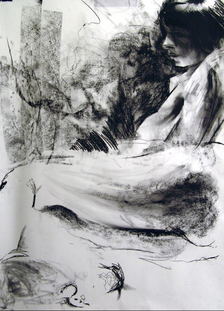 Kobieta leżąca, rys. węglem 100x70 2009-10