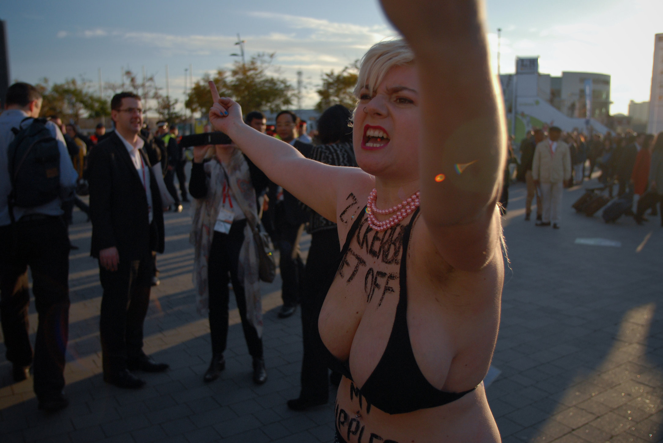 FEMEN protest outside Mobile World Congress - Barcelona