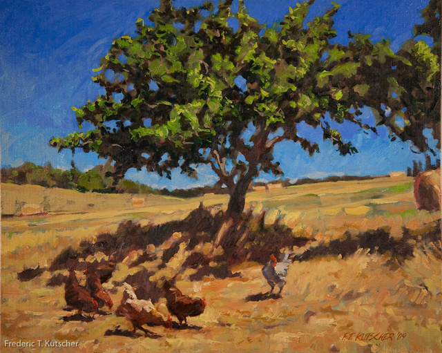 2009-33 Apple Tree and Chickens (Lopez Island_ WA) (21.5W  17.5H oil on canvas on board).jpg