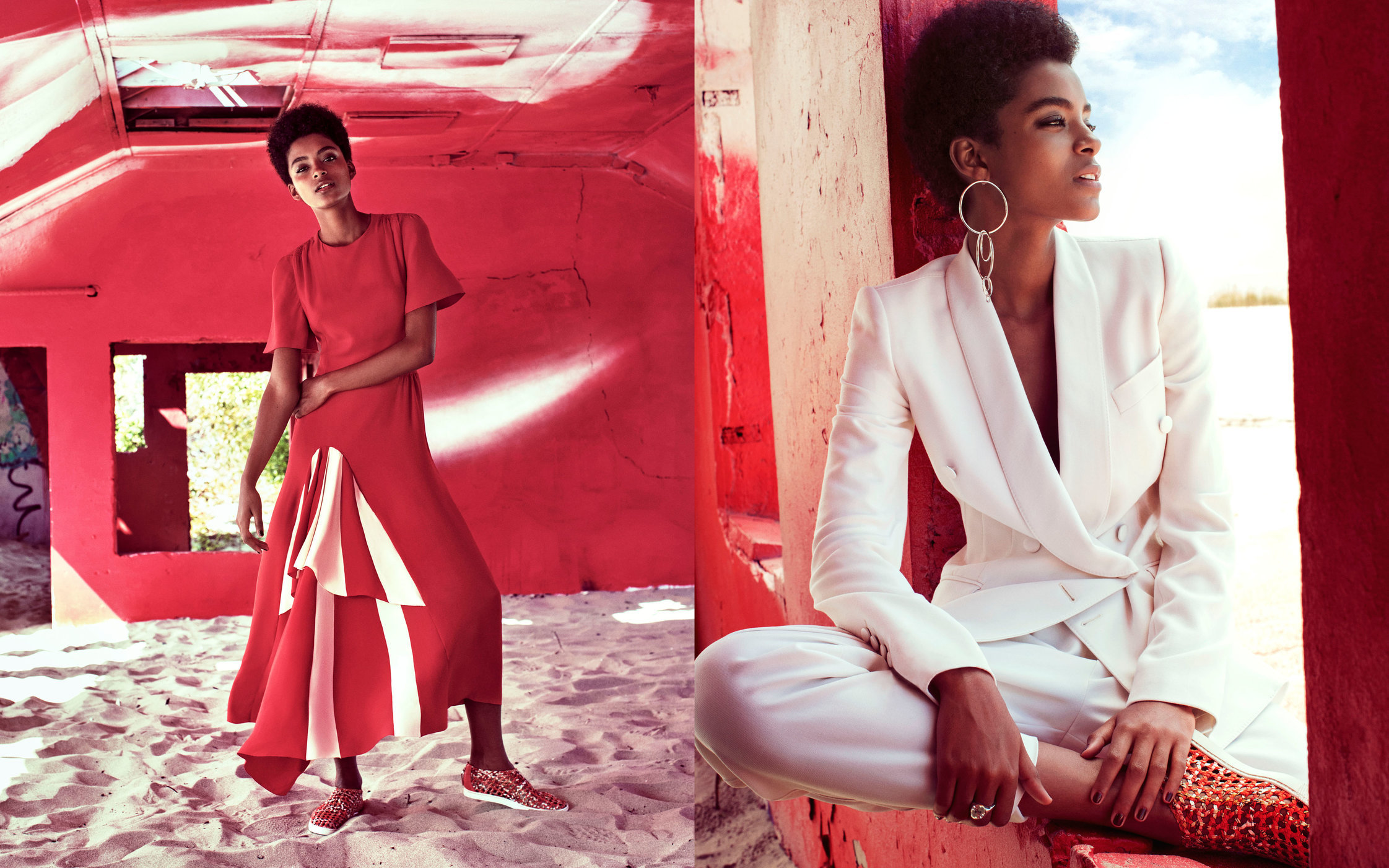 Harper's Bazaar. Alecia Morais. Seeing Red. November, 2016.