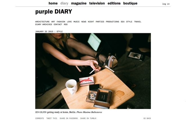 purple DIARY   Jen Gilpin getting ready at home  Berlin. Photo Maxime.jpg