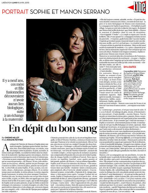 Portrait de Sophie et Manon Serrano pour Libération.