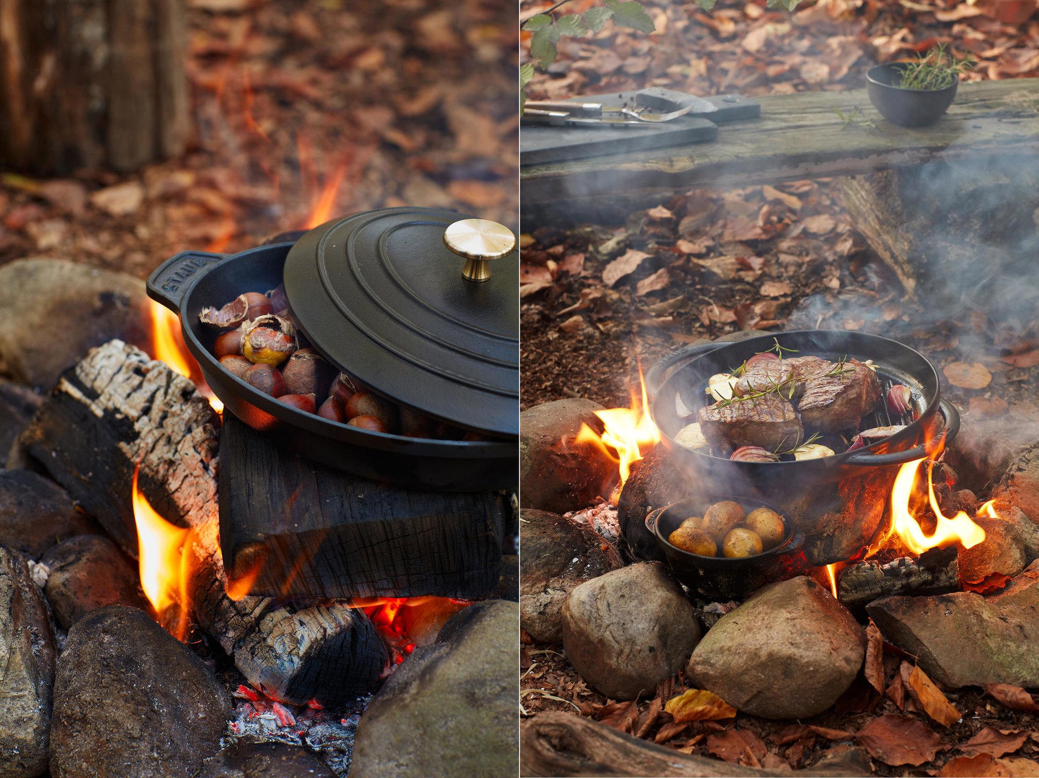 Wild. Kochen auf dem Lagerfeuer.
