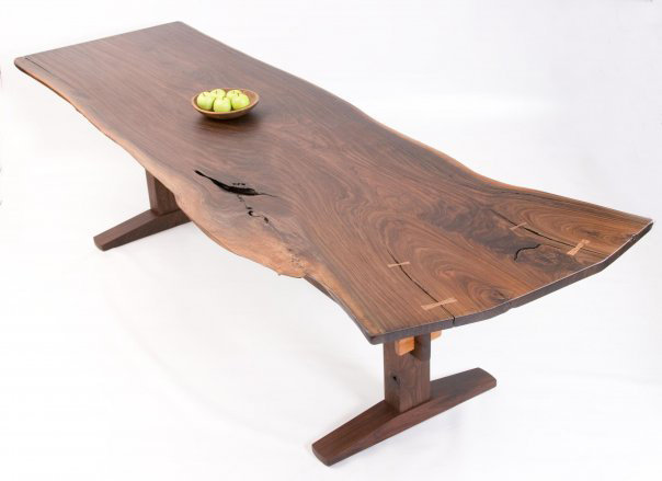Black walnut dining table, collaboration with craftsmen David Stine