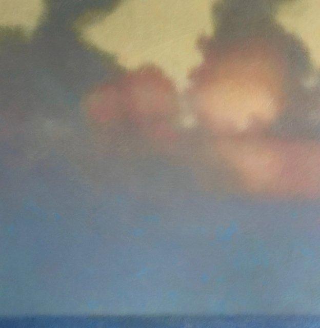 """Lost At Sea Horizon #2, 2019, Wax crayon over inkjet print, 30"""" x 30"""""""