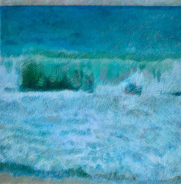 Kailua Wave With Beach and Horizon, 2019, Wax crayon over digital print, 28.75 x 28.75 in.