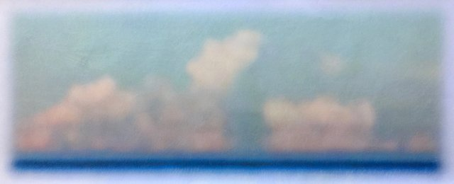 "Lost At Sea Horizon #1, 2019, Wax crayon over inkjet print, 23"" x 54"""