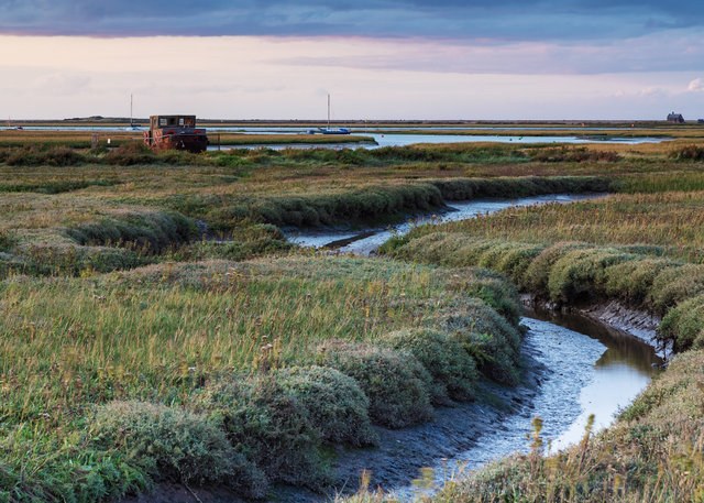 Muddy creek and derelict vessel, Blakeney