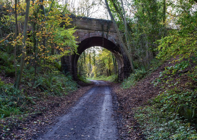 Bridge carrying Bridge Holm Lane over disused railway line