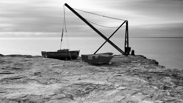 Red Crane and Fishing Boats, Isle of Portland