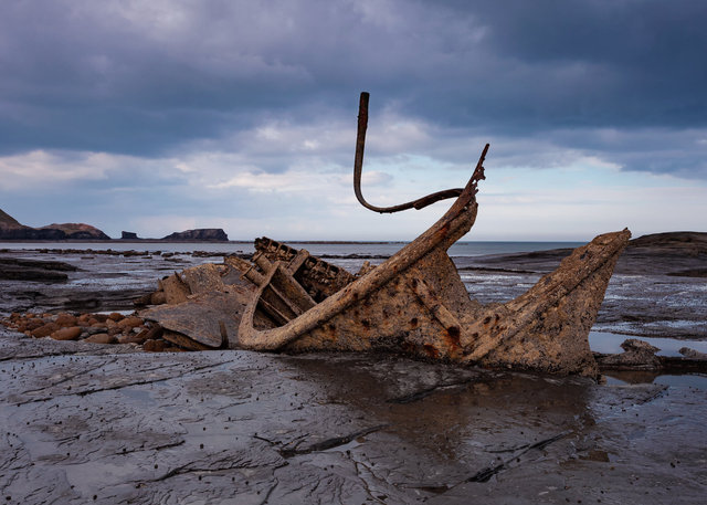 Shipwrecked fishing trawler Admiral Van Tromp at Saltwick Bay