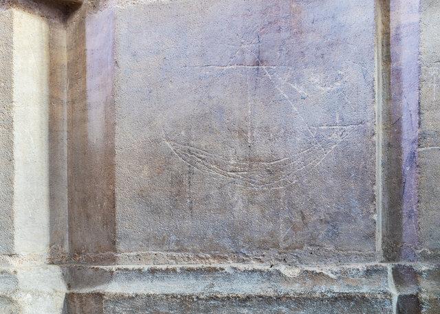 Medieval ship grafitti at St Nicholas Church, Blakeney