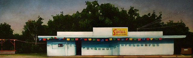 Sandra's, 2014, acrylic and oil on paper, 9 x 28""