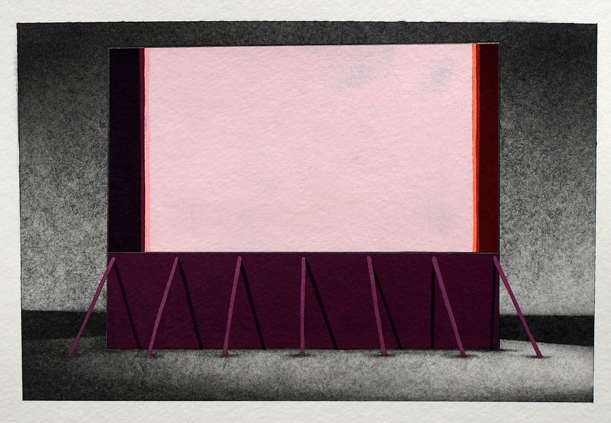 """Not Too Distant Future 3, 2014, graphite and gouache on paper, ~6.5 x 9"""""""