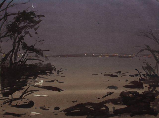 """Moonlight Pier   22 x 29"""""""