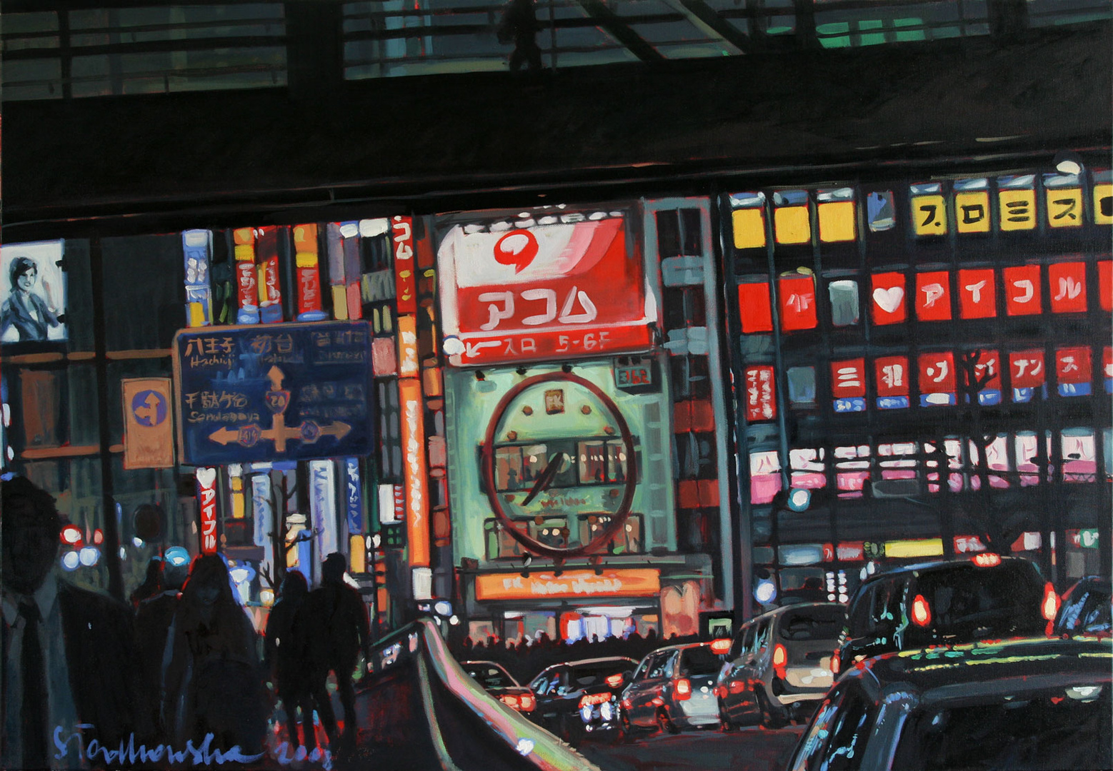 Shinyuku, Tokio 19:38, 116x81, olej płótno