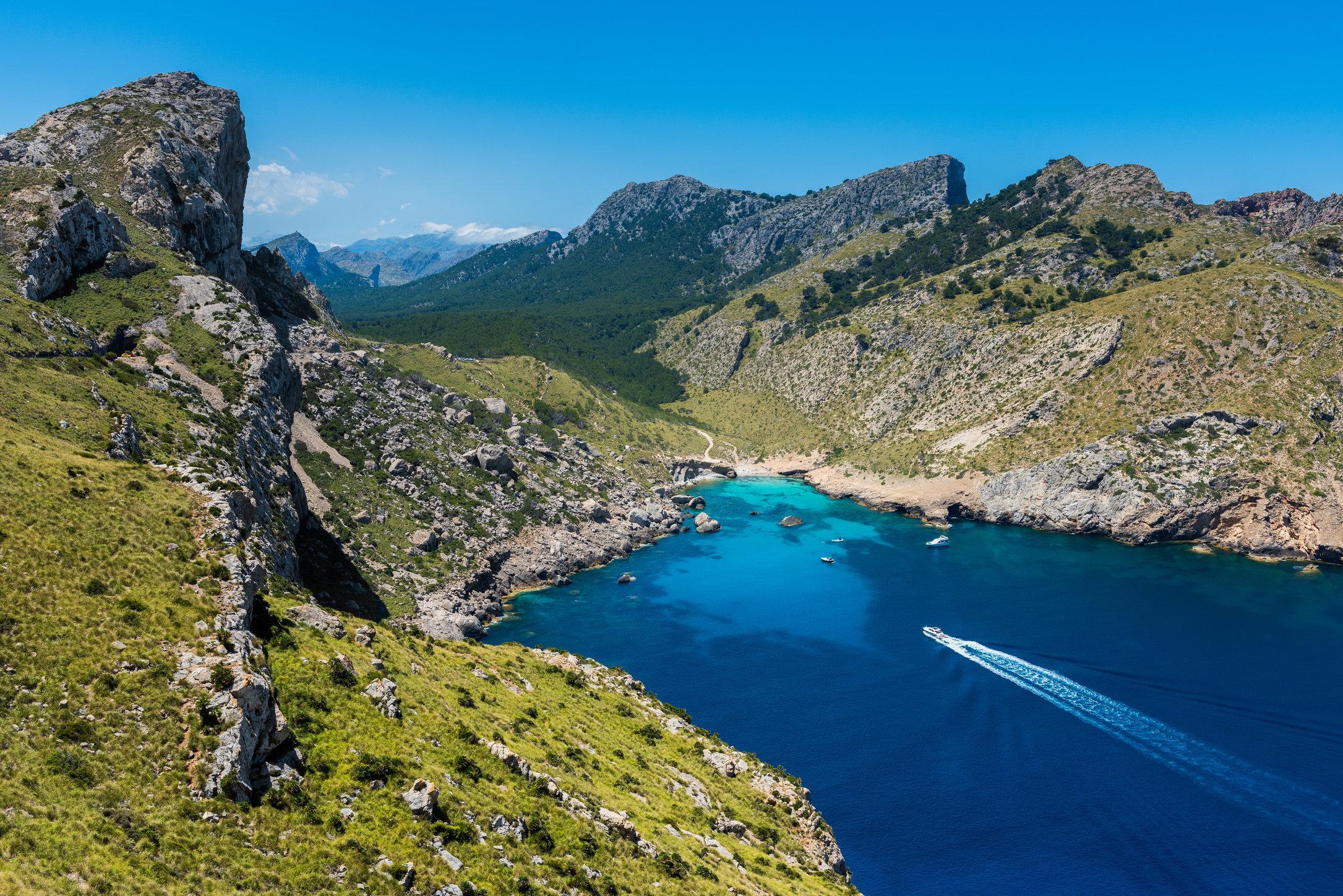 Ship sailing to bay in Cap Formentor Mallorca Hi Res.jpg