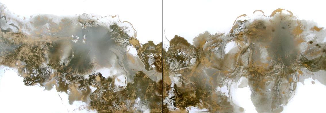 Chmury, olej/papier, dyptyk, 70x200