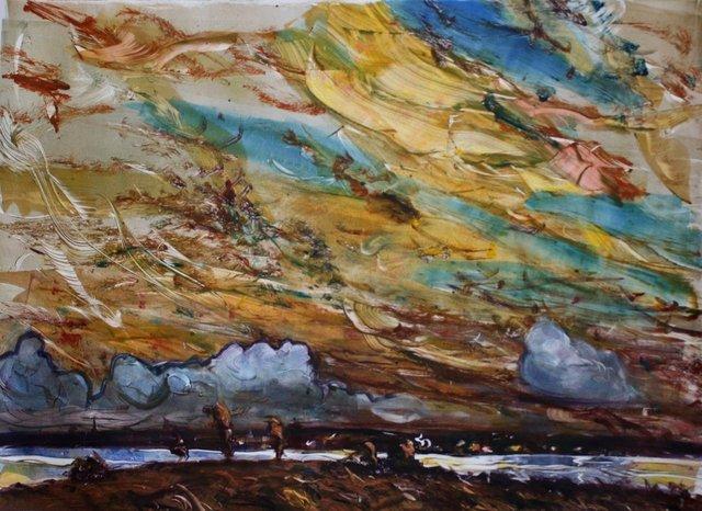 "Pier Sunset   22 x 30"""